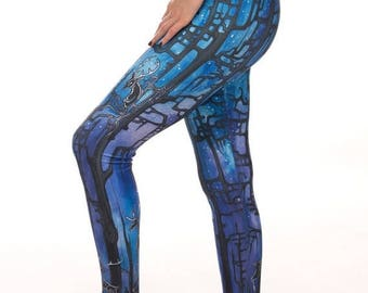 ON SALE Forest Preachers, limited edition, artist designed,  printed leggings, yoga pants, handmade leggings, by Plastik Wrap. All sizes