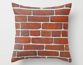 Photo Pillow Cover Decorative Brick Wall Pillow Rustic Pillow Urban Pillow