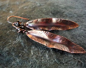 Long copper leaf earrings, Smoky quartz earrings, Fold-formed jewelry, Hammered copper, Oxidized copper