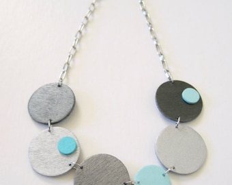Modern geometric wooden necklace-circular in aqua blue, silver, pewter, black-modern, contemporary, minimalist handmade jewelry-eco friendly