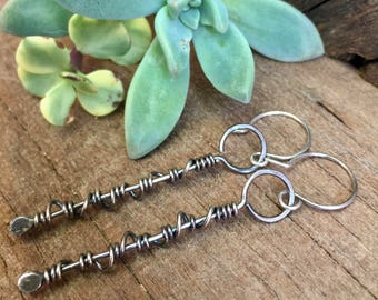 Spiral Earrings, Silver Dangle Earrings, Silversmith Earrings, Sterling Silver Earrings