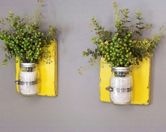Wooden Wall Sconces, Wall Sconces, Set of 2 Sconces, 16 oz Mason Jars, Distressed Wood, Yellow in Color