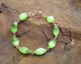 Soft Pastel Green and Pink Bracelet with Swarovski Crystals #213