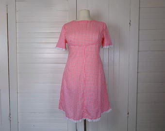 60s Pink Gingham Dress- 1960s Country- Plus Size- Empire Waist- Lace- Shift Dress- Mod- Bridget Bardot- Sweet Lolita- Valentine's Day