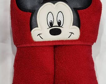 Hooded Towel, Mickey Mouse Hooded Towel, Character Hooded Towel, Mickey Bath Towel, Mickey Beach Towel, Mickey Pool Towel, Mr. Mouse Towel