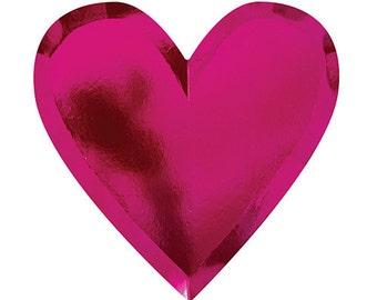 Large Pink Foil Heart Plates, Bridal Shower Plates, Heart Party Plates, Pink Party Supplies, Heart Shaped Plates, Valentine Party Plates