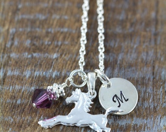 Girl Horse Necklace, Personalized Girl Birthday Gift Idea, 925 Sterling Silver
