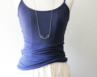 Long Layering Antler Deer Necklace | Boho Gold Antler Necklace | Bridesmaid Gifts | Vintage Rustic Wedding | Christmas Gift | Holidays