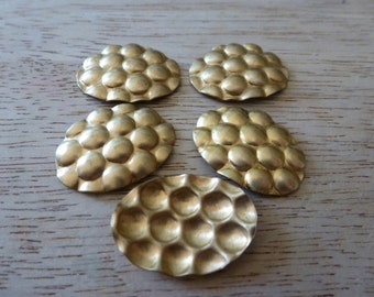 Vintage Brass Stampings, 1970s Little Oval Dapped, Domed Unplated Jewelry Findings, Bumpy Texture, Made in the U.S., 24x17, 4 pcs. (C30)