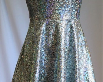Shattered Glass Holographic Satin Tape Mini Dress