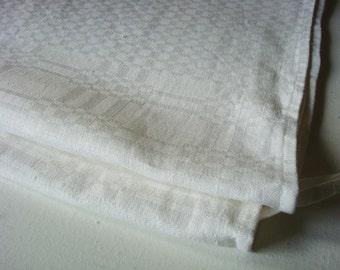 White Jacquard Linen tea towel Kitchen towels set stonewashed linen towels set of 2 pcs