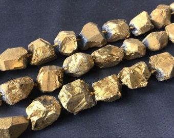 "Raw Gold Quartz Nugget beads Titanium Metallic Quartz Stone beads Rough beads Gold plated Crystals 20-35mm 15.5"" full strand"