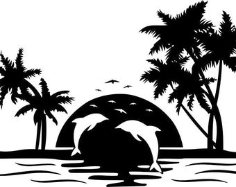Dolphin palm tree sunset Graphics SVG Dxf EPS Png Cdr Ai Pdf Vector Art Clipart instant download Digital Cut Print File Cricut Silhouette
