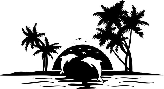 Dolphin Palm Tree Sunset Graphics Svg Dxf Eps Png Cdr Ai Pdf