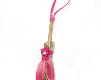 Mini Broom Ornament #20 with a Pink Flower