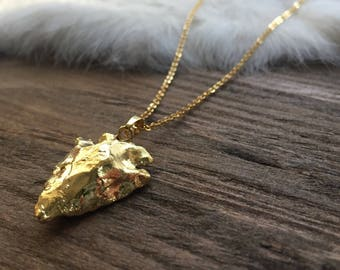 Brass Solid Arrowhead Layering Necklace