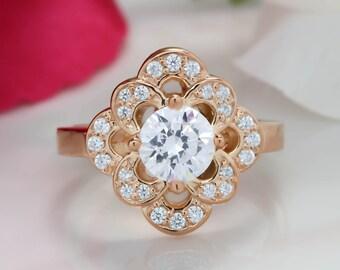 Floral Moissanite Engagement Ring Diamond Halo, Forever One Center