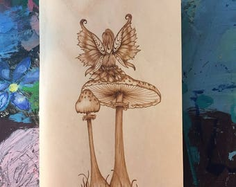 Refillable Leather Journal with Burned Sitting Fairy Design