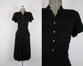 1940's Black Rayon Crepe Cocktail Dress with Draping / Size Small
