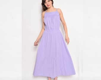 Vintage 80's Purple Sleeveless Maxi Dress / Lavender Maxi Dress - Size Medium