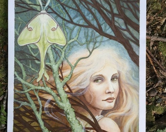 Lunar Moth Oil Painting (original) by Renae Taylor