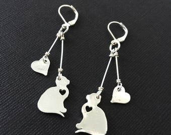 Cat Lover Dangle Earrings / Cat Earrings, Cat Jewelry, Kitty Earrings, Gifts for Cat Lovers, Cat Gift, Silver Cats, Kittens, Kitties