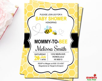 Bee baby shower etsy bumble bee baby shower invitations honey bee baby shower invitations mommy to bee filmwisefo