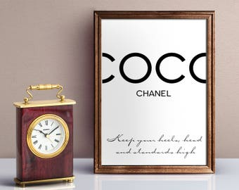 Coco Chanel Logo. Chanel qoute. Coco Chanel Print. Chanel Poster. Chanel Wall Art. Fashion wall art. Chanel print. Motivational Quote Poster