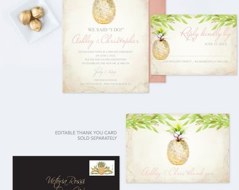 Wedding Invitation Template Download, Editable Text Acrobat Reader Template, Were Eloping Announcement, Watercolor Pineapple, Can Be Edited