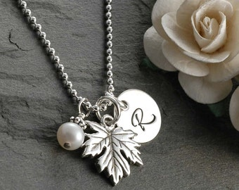 Maple Leaf Initial Necklace - with pearl - sterling silver