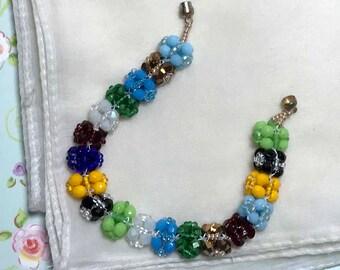 Multi Color Bracelet Rainbow Bracelet Colorful Bracelet Flower Bead Bracelet Beadwork Bracelet Beaded Ball Bracelet Size 6 1/2 Bracelet