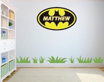 Batman Logo Personalized Name Wall Art Sticker/Decal Children's room w63 cm x h38 cm
