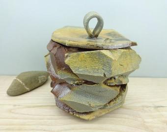 Box, anagama kiln, natural ash deposit box, decoration, Anagama firing, natural ash deposit