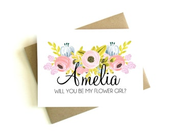 Personalized Flower Girl - Will You Be My Flower Girl Card, Flower Girl Gift, Flower Girl Proposal, Be My Flower Girl Card