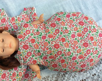 Doll sleeping bag with red doll anjo Liberty clothes 36 cm