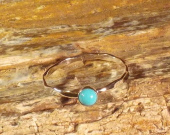 Hammered Sterling Silver and Turquoise Stackable Ring