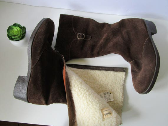 Suede 6 Winter 60s US Vintage Made Boots in Boots Size England Eur and 8 Sheepskin 5 Shearing Boots MORLANDS Brown Warm 39 Womens UK Ff5fUq