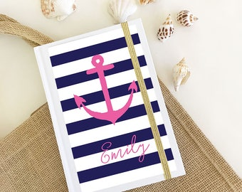 Anchor Notebook Nautical Journal Nautical Notepad - Nautical Gift Women - Anchor Gifts for Her Nautical Bridesmaid Gift  (EB3191TPB)