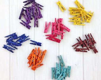 1-inch Mini Clothespins, 25 pieces - Hand Dyed Wood Clothespins