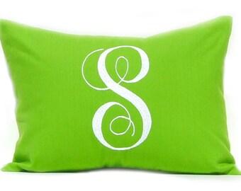 Monogram Pillow Cover - Letter Pillow - Dorm Pillow - Green Nursery - Embroidered Pillow - Entryway Decor - Housewarming Gift - Wedding Gift