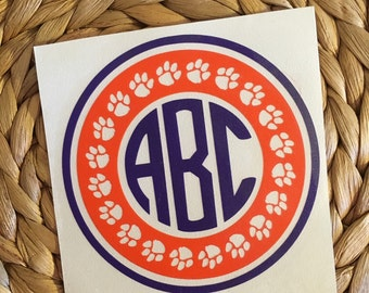 Clemson/ Auburn Monogrammed Vinyl Decal