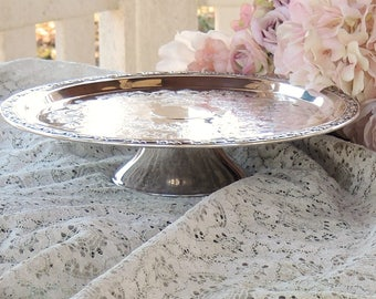 "Oneida Park Lane Silverplate Engraved 12"" Footed Cake Stand Pedestal Cake Plate Holloware Wedding Table Vintage Housewarming Gift Regency"