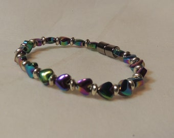 Rainbow Hearts and Silver Magnetic Bracelet