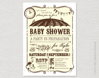 PRINTABLE Brolly / Umbrella Baby Shower Invitation. Retro, vintage inspired. Bunting. Shower invitation.
