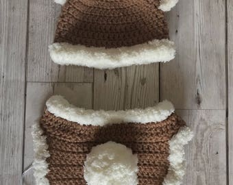 Newborn crochet bear hat and diaper cover set - perfect photo prop