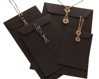 String Tie Envelopes - BLACK card x 10 ( C6 size)