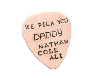 Copper Guitar Pick Dad Grandpa Kids Grandkids Names Personalised Fathers Day Birthday Gift For Men Guys
