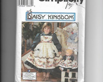 UNCUT Sewing Pattern Simplicity 7304 for Girls and Doll Daisy Kingdom Dress, Sz 3, 4, 5, 6