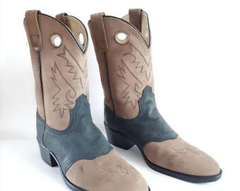 Vintage cowboy boots leather boots 1980's vintage boots western cowboy boots calf length boots brown leather boots size 3 (slim fitting)