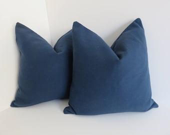 Blue Pillow Cover- Solid Blue Pillows- Cotton Pillows- 16x16-18x18-20x20 Pillow Covers